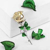 Брошь 'Цветок' роза, цвет зелёный в серебряно-золотом