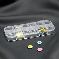 Органайзер для декора, 12 отделений с номерами, 13 x 5 x 1,5 см, цвет прозрачный