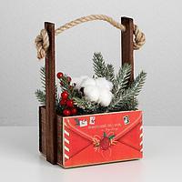 Кашпо деревянное с ручкой из веревки 'Новогодний подарок', 15 x 8 x 8 см