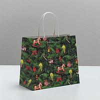 Пакет подарочный крафтовый 'Новогодняя ёлочка', 22 x 25 x 12 см