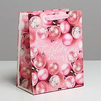 Пакет ламинированный вертикальный 'Розовые шарики', MS 18 x 23 x 10 см