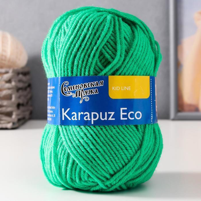 Пряжа Karapuz Eco (КарапузЭко) 90 акрил, 10 капрон 125м/50гр ярк.зел (47) - фото 1