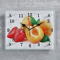 Часы настенные, серия Кухня, 'Абрикосы и клубника', 20х25 см, микс