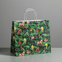 Пакет подарочный крафтовый 'Новогодняя ёлочка', 32 x 28 x 15 см