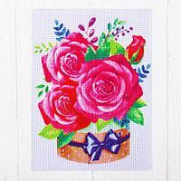 Набор для творчества. Канва для вышивки крестиком 'Букет из роз', 20 х 15 см
