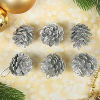 Набор природного декора 'Серебряные шишки', набор 6 шт.