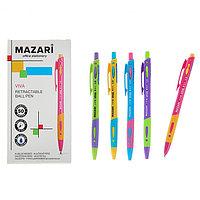 Ручка шариковая автоматическая Mazari Viva, 1.0 мм, резиновый упор, синяя, корпус МИКС (комплект из 50 шт.)