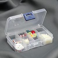 Органайзер для декора, со съёмными ячейками, 8 отделений, 10,5 x 6,7 x 2,2 см, цвет прозрачный
