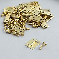 Петля для шкатулки металл с закругленными углами золото + саморезы набор 25 шт 1,6х1,3 см