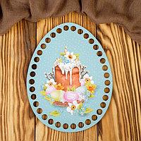 Заготовка для вязания 'Яйцо. Кулич со свечой на голубом фоне' 14х18 см