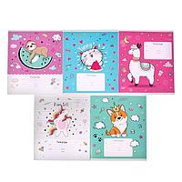Тетрадь 18 листов в клетку The cuties,обложка мелованный картон, блок офсет, МИКС (комплект из 20 шт.)