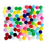 Набор текстильных деталей для декора 'Бомбошки' 100 шт. набор, размер 1 шт. 1,2 см, цвет МИКС