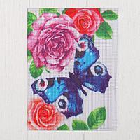 Канва для вышивки крестиком 'Бабочка в цветах', 20х15 см