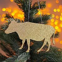 Новогодняя подвеска 'Коровка' золото, серебро 0,2х20х10,5 см