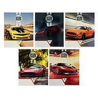 Тетрадь 18 листов в линейку 'Стильные авто', обложка мелованный картон, УФ-лак, блок офсет, МИКС (комплект из