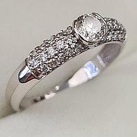 Золотое кольцо с бриллиантами 0.60Сt SI1/I, EX - Cut, фото 1