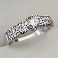 Золотое кольцо с бриллиантами 0.72Сt SI2/K, EX - Cut, фото 1