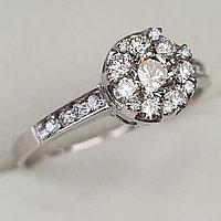 Золотое кольцо с бриллиантами 0.61Сt SI1/N, I, EX - Cut, фото 1
