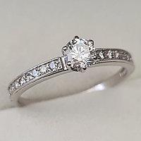 Золотое кольцо с бриллиантами 0.46Сt SI2/K, EX - Cut, фото 1