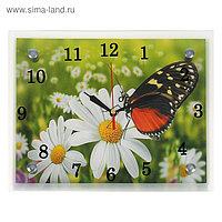"""Часы настенные, серия: Цветы, """"Бабочка на ромашке"""", 20х25 см, микс"""