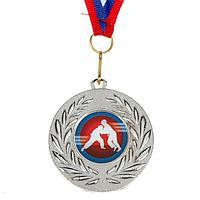 Медаль тематическая «Дзюдо», серебро, d=5 см