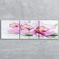 Часы настенные модульные «Сиреневые орхидеи», 35 × 110 см