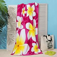 Полотенце пляжное Этель 70*140 см, Цветы на розовом, микрофибра 250гр/м2