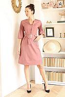 Женское осеннее розовое деловое платье Juliet Style Д210-1 46р.
