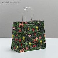 Пакет подарочный крафтовый «Новогодняя ёлочка», 22 × 25 × 12 см