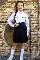 Детская для девочек осенняя хлопковая белая деловая блуза Elod 0721026 128-60р.