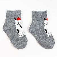 Носки детские 'Кот с яблоком' цвет серый, размер 18-20