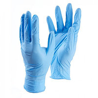 Медицинские перчатки нитриловые, нестерильные, неопудренные Benovy L, голубые (комплект из 100 шт.)
