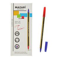 Ручка шариковая двусторонняя Mazari Twixi, 1.0 мм, синяя + красная (комплект из 50 шт.)