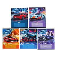 Тетрадь 12 листов в клетку 'Стремительные автомобили', обложка мелованный картон, блок 2, белизна 75 (серые