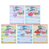 Тетрадь 12 листов в косую линейку 'Фламинго и цветные волны', обложка мелованная бумага, МИКС (комплект из 25
