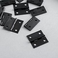 Петля для шкатулки металл с прямыми углами черная 2,5х2,5 см (комплект из 10 шт.)