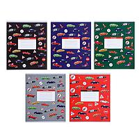 Тетрадь 12 листов в линейку 'Машины', обложка мелованный картон, ВД-лак, блок офсет, МИКС (5 видов в спайке)