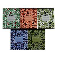 Тетрадь 12 листов в клетку 'Пиксели', обложка мелованный картон, ВД-лак, блок офсет, МИКС (5 видов в спайке)