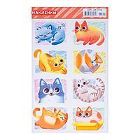 Наклейки десткие 'Кошки' УФ-лак, глиттер, нарисованные кошки, 16 х 10 см (комплект из 20 шт.)