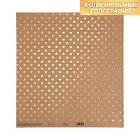 Бумага для скрапбукинга крафтовая с голографическим фольгированием 'Звёзды', 30.5 x 32 см (комплект из 10 шт.)