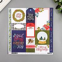 Бумага для скрапбукинга Pink Paislee 'Together For Christmas1' 30.5х30.5 см, 190 гр/м2 (комплект из 5 шт.)
