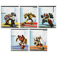 Тетрадь 12 листов в клетку 'Боевые роботы', обложка мелованная бумага, МИКС (комплект из 25 шт.)