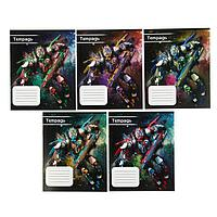 Тетрадь 12 листов в клетку 'Космический робот', обложка мелованный картон, ВД-лак, блок офсет, МИКС (5 видов в