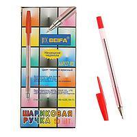 Ручка шариковая Beifa АА 927RD, металлический наконечник, стержень красный, узел 0.7мм (комплект из 50 шт.)