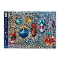 Интерьерная наклейкаголография 'Ёлочные игрушки', 21 x 33 см
