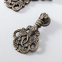 Ручка для шкатулки металл 'Растительный орнамент' бронза 5,8х2,8 см (комплект из 2 шт.)
