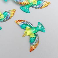 Декор для творчества пластик 'Птица зелёно-жёлтая с золотом' 2,3х3,5х0,4 см (комплект из 5 шт.)