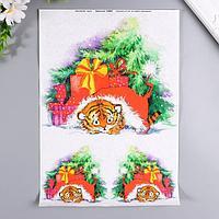Декупажная карта 'Тигр в подарках' плотность 45г/м2 формат А4 (комплект из 5 шт.)