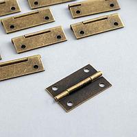 Петля для шкатулки металл с прямыми углами бронза 2,5х3,8 см (комплект из 10 шт.)