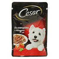 Влажный корм Cesar для собак, говядина с овощами, пауч, 85 г (комплект из 28 шт.)